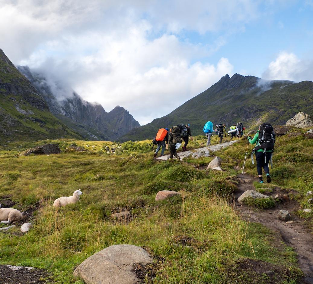guidet gruppereise fjelltur aktiviteter i Nord Norge lofoten
