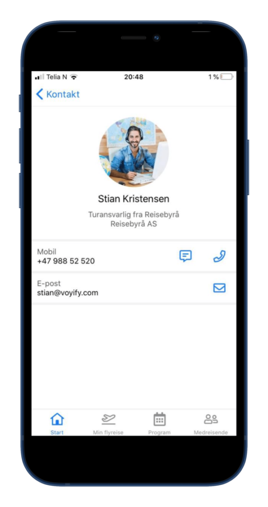 kontakt arrangøren av konferansen via mobil app