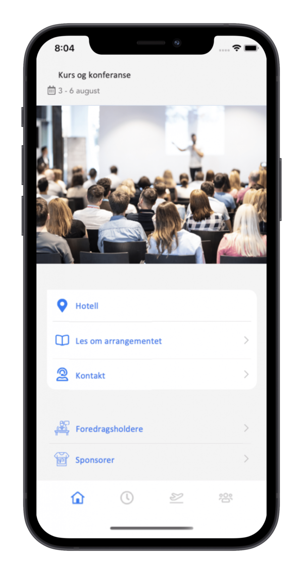 app for kurs og konferanse med signaturreise firmatur
