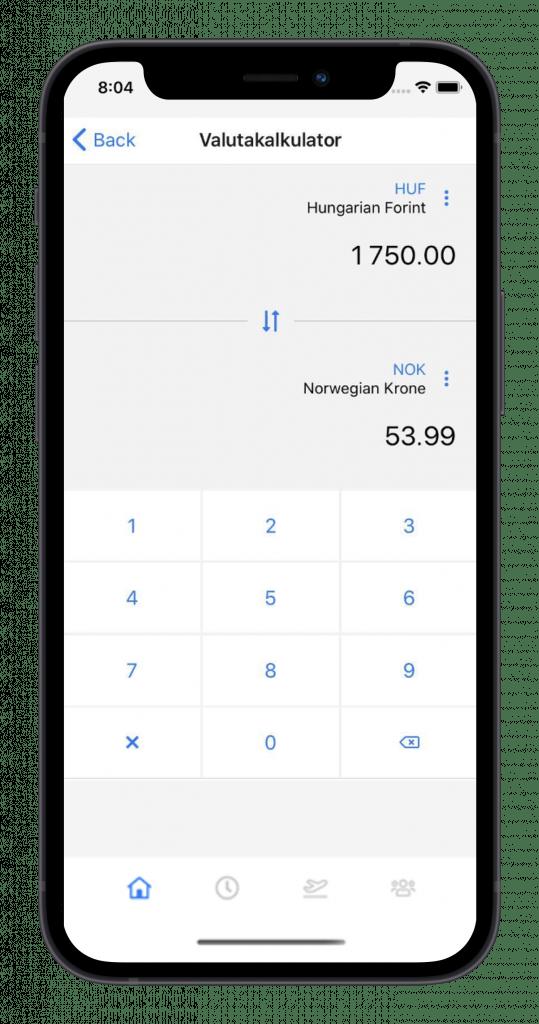 app for kurs og konferanse valuta kalkulator